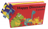 Omslag - Happy dinosurs. 3  puzzles