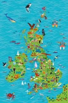 Children's Wall Map of the United Kingdom and Ireland av Collins Maps (Kart, rullet)