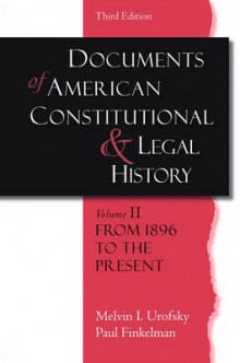 Documents of American Constitutional and Legal History: From 1896 to the Present Volume II av Melvin I. Urofsky og Paul Finkelman (Heftet)