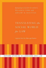 Omslag - Translating the Social World for Law