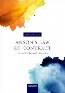 Anson's Law of Contract av Sir Jack Beatson, Hon. Andrew Burrows og John Cartwright (Heftet)