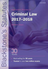 Omslag - Blackstone's Statutes on Criminal Law 2017-2018