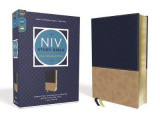 Omslag - NIV Study Bible, Fully Revised Edition, Leathersoft, Navy/Tan, Red Letter, Comfort Print