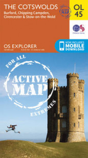The Cotswolds, Burford, Chipping Campden, Cirencester & Stow-on-the Wold av Ordnance Survey (Kart, falset)