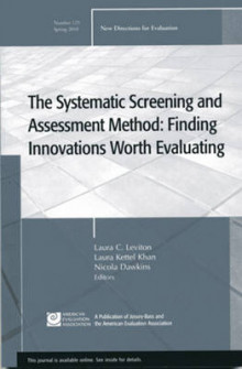 The Systematic Screening and Assessment Method Spring 2010 av EV (Evaluation) (Heftet)