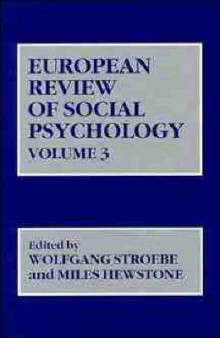 European Review of Social Psychology: v. 3 av W. Stroebe (Innbundet)