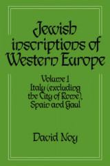 Omslag - Jewish Inscriptions of Western Europe: Volume 1, Italy (excluding the City of Rome), Spain and Gaul: Italy (excluding the City of Rome), Spain and Gaul v. 1