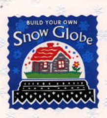 Build your own snow globe. Contains a globe, four interchangeable pieces, glitter, 1 book (Leke)