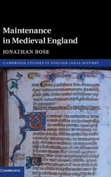 Omslag - Maintenance in Medieval England