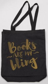 Omslag - Books Are My Bling Tote. Black