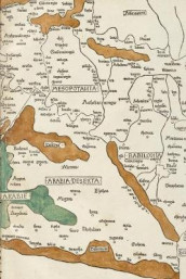 Poetose Notebook featuring 1482 map of Palestine, Mesopotamia, and Babylonia in Present Day Middle East (50 pages/25 sheets) (Heftet)