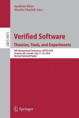 Omslag - Verified Software. Theories, Tools, and Experiments 2016