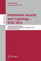 Omslag - Information Security and Cryptology - ICISC 2016